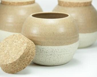 Set 3 ceramic Jar, Pottery Jar, coffee jar, tea jar, Storage container, coffee container, ceramic jar with lid, cork lid, black Friday gift