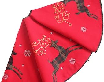 Red Christmas Tree Skirt Reindeer applique embroidery Plaid Christmas Decor Modern christmas tree skirt  Nordic Christmas