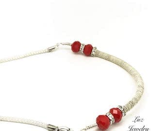 Red silver necklace, Silver coil necklace, coiled necklace, red necklace, silver boho necklace, silver red necklace,