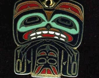 Native American Beaver Enameled Pendant, Signed