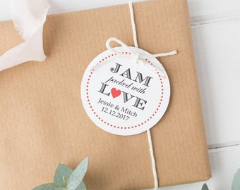 Jam packed with love tags (30) - Jam wedding favor - Wedding favor tag - Jam tag - Wedding gift tags - Jelly wedding favors