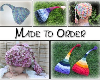 Custom Pixie hat - child/adult sizes - handmade gift, crocheted hat, kids hat, gifts for children, childs hat, adult hat, stocking fillers
