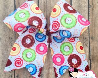 donut cheer bow, donut hair bow, donut bow, sprinkles hair bow