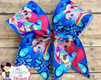 Shimmer and Shine cheer bow, shimmer and shine bow, shimmer and shine hair bow