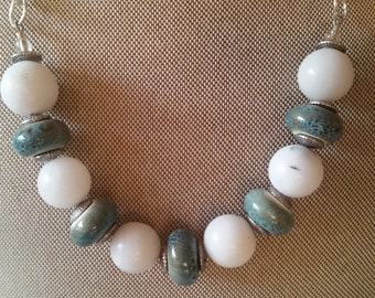 White agate beads and blue ceramic beads