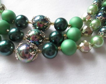 1950s Japan Green Multi Strand Bead Necklace