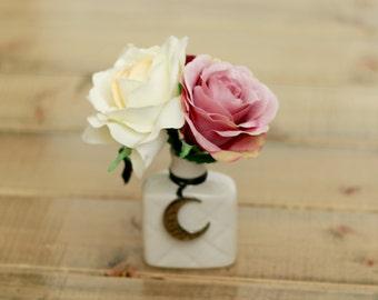 Mini Plum Mauve Floral Faux Floral Ivory Arrangement With Moon Pendant