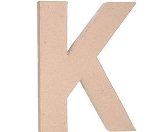 Paper Mache Letter -K - 12 inches,Unfinished Mache, Embellishment Letter,Cardboard letter, Alphabet Décor