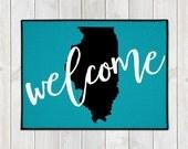 Custom Doormat -  Welcome Door Mat - Custom Welcome Mat - State Door Mat - Wedding Gift - Housewarming Gift - New Home - Indoor Outdoor Mat