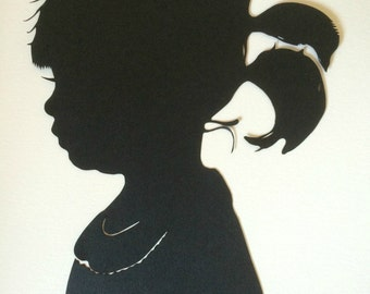 Two Custom Paper Cut Silhouette Portraits: Two Silhouettes  Custom Paper Cut Cameo / Anniversary Portraits