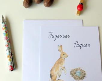 Carte Joyeuses Pâques - carte au lapin - Pour Pâques - Lapin beige - Nid et oeufs - Pour accompagner les chocolats - Pâques 2018 - Baptême