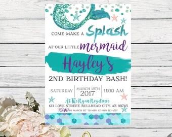 Mermaid: birthday invitation- personalized ***Digital File*** (mermaid-WaterBrush)