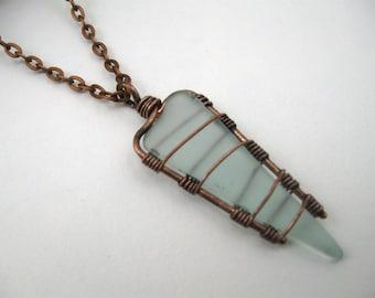 sea glass necklace, aqua sea glass pendant, blue sea glass, aqua sea glass, light blue sea glass, light blue glass necklace, beach glass