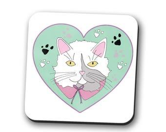 cat coaster, coaster, cat lover gift, crazy cat lady, gift for women, best friend gift, cat illustration, cat gift, pet mum, pet mum gift