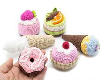 Set of 6 Pcs - crochet cupcake baby RETTLE, teether teeth, play food, kitchen decoration, eco-friendly Baby toys, MiniMom's