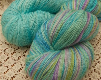 1200m Turqouise Handpainted Lace Weight Hand Dyed 2 Skein Toning 'Besties' Alpaca / Mulberry Silk Knitting Yarn shawl yarn