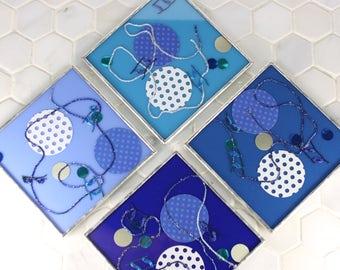 Blue Decorative Coasters, Kitchen Decor, Drink Coaster Gift Set, Kitchen Accessory, Housewarming Gift, Wine Coaster Set, Home Decoration