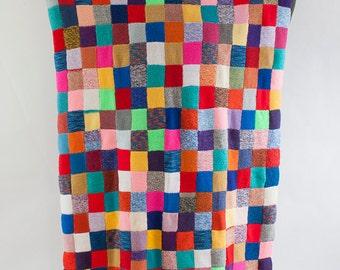 Handmade Colorful Wool Crochet Blanket, Large Vintage Afghan Throw
