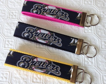 Brewers Key Fob, Key Fob Wristlet, Key Chain, Milwaukee Brewers key fob, Mother's Day gift, Father's Day gift, gift under 10