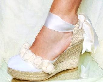 ASHLEY PLATFORM Wedge Lace Up Espadrille Boho style Wedding