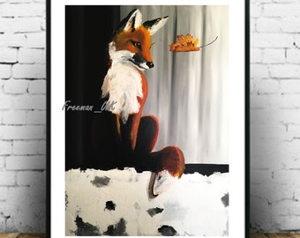 Fox and Leaf.  Fine art Giclee abstract print