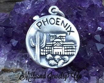 Phoenix Charm, Arizona Charm, Phoenix Pendant, Sterling Silver Phoenix Charm, Sterling Silver Charm