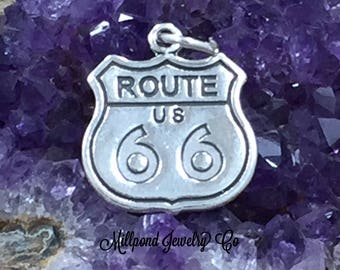 Route 66 Charm, Route 66 Road Sign Charm, Sterling Silver Charm, Historic Route 66 Charm, Travel Charm, Road Trip Charm