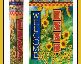 "Home Sweet Home Garden Peace Pole with Solar Light 52"""