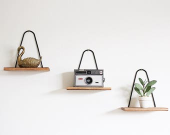 Modern Hanging Floating Wall Shelf Zebrawood