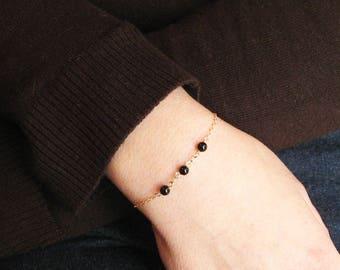 Black Onyx Bracelet, Swarovski Crystal Bracelet, 14k Gold Filled or 925 sterling Silver, April Birthstone, Dainty Jewelry, Gift Under 20