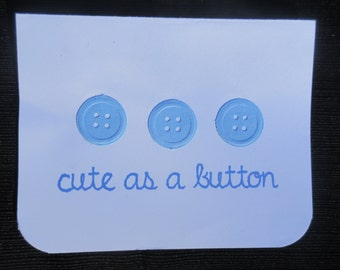 Cute as a Button BLUE baby shower card // Baby announcement // First birthday
