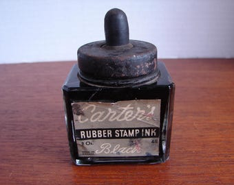 Vintage Carter's Black Rubber Stamp Ink Bottle, 1930's Or 1940's,Black Metal Lid,Rubber Knob, Interior Dropper,Made in Canada, Contents Full