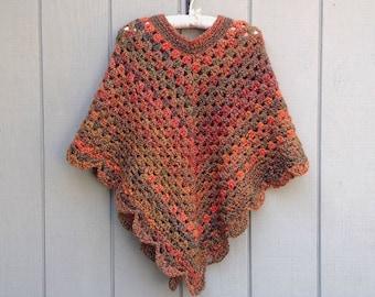Crochet poncho - Womens clothing - Crochet shawl - Crocheted poncho - Teens poncho