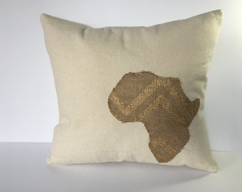 Oatmeal White, Decorative Pillows with Africa applique