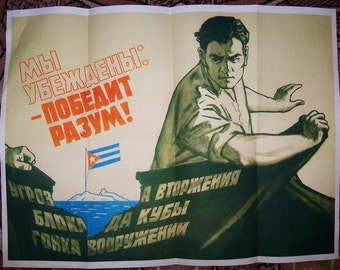 Caribbean crisis Cuba nice russian poster