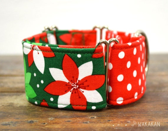 Martingale dog collar model  Xmas Time. Adjustable and handmade with 100% cotton fabric. Christmas winter style. Wakakan