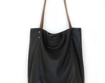 Chocolate Brown Leather Bag, Dark Brown Nappa Leather Tote Bag, Brown Office Purse, Deep Brown Nappa Leather Bag, Brown Leather Shopper