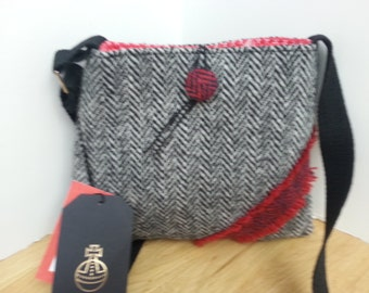 Harris Tweed Small Black and Red Bag