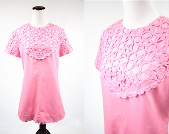 1960's Pink Mod Crocheted Bib Mini Dress