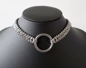 Stainless Steel Chainmail O-Ring Choker - Kings Scale Chainmaille O Ring Bondage / BDSM Collar