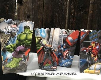 4-Marvel Avengers popcorn boxes, Avenger snack boxes, Avenger favor box