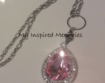 Free Shipping! Sofia amulet necklace, pink amulet necklace