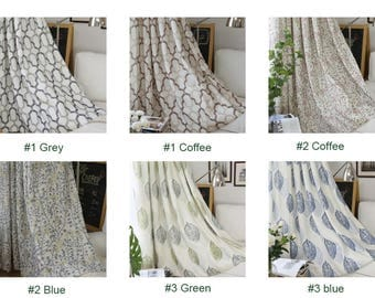 Garden style natural cotton linen shower curtains, customized modern bedroom drapes curtain for living room (2 panels,10 types for choice)