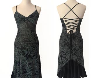 Black Lace Dance Dress with Satin Ruffles | Tango Show Dress | Performance Dress