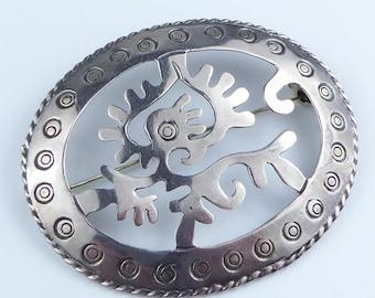 Mexico Sterling silver Ozomatl Aztec Monkey God Brooch