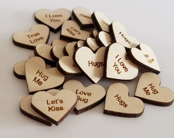 """Set of 24 Wooden Laser Engraved Valentine Message Hearts 1 """" Inch Size ( Scrap Booking, Decoupage, etc...)"""