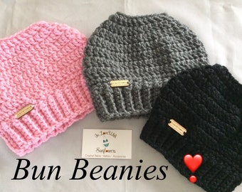 Messy Bun Beanie - Messy Bun Hat - Ponytail Hat - Bun Beanie - Crochet Beanie - Messy Pony Beanie - Crochet Hat  - Crochet Bun Beanie -