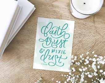 Peter Pan Hand Lettered Art Quote
