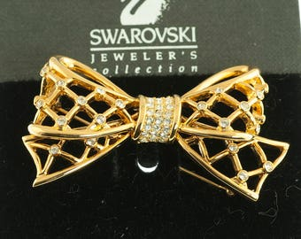 Swarovski Gold Plated Bow Brooch