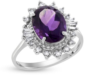2.69 Ct. Natural Amethyst & Diamonds Fashion Fancy Ring In Solid 10k White Gold